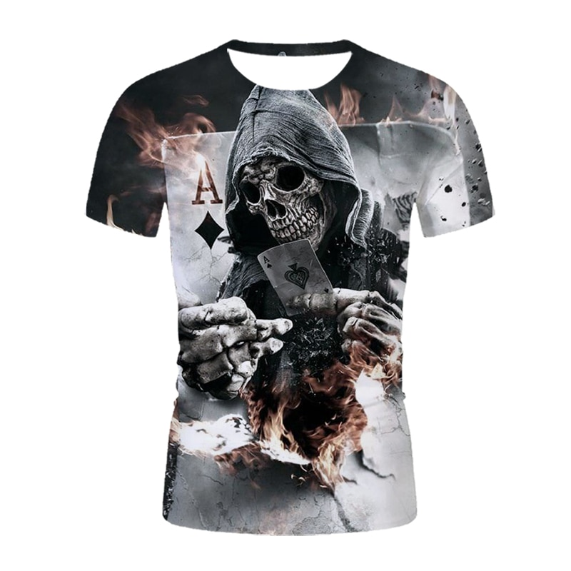 2021new summer men's casual fashion trend T-shirt skull 3D printing comfortable breathable round neck short sleeve men's t-shirt