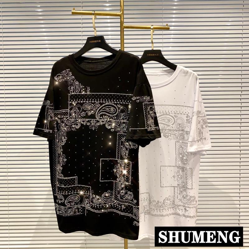 Streetwear brilhante camiseta 2020 verão feminino legal strass perfuração quente solto manga curta camiseta feminina longo