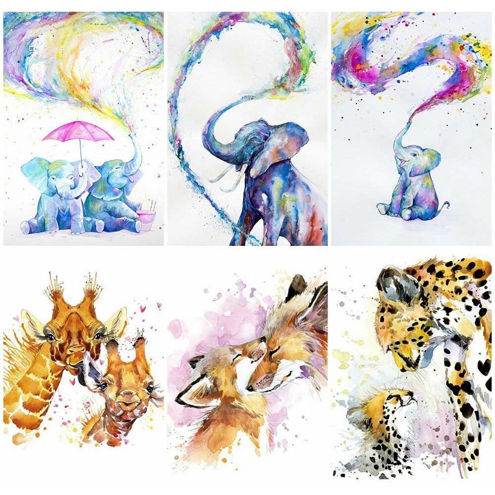 HUACAN 5D pintura diamante completo taladro cuadrado Fox mosaico de dibujos animados Animal elefante de diamante hecho a mano regalo