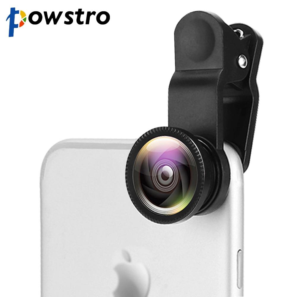 Powstro 3 in 1 Mobile Phone Lens Wide Angle Lens+3X Macro Lens +198 Fisheye Lenses For iPhone Samsun