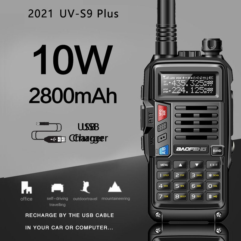 2021 BaoFeng UV-S9Plus Powerful Walkie Talkie  Radio  8W/10w 10km Long Range Portable Radio for hunt forest city upgrade 5r