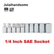 10PC SAE 1/4 Drive Socket Set CRV 6 Punt 5/32 3/16 7/32 1/4 9/32 5/16 11/32 3/8 7/16 1/2 25mm Lengte Hand Tool Set