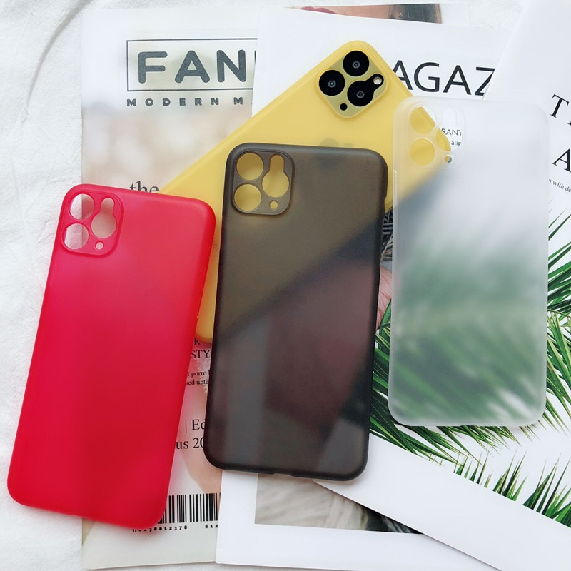 Capa de celular ultrafina fosca, transparente, para iphone 6 6 s 7 8 plus xr x xs 11 pro capinha máxima de luxo 0.3mm, bolsa de telefone