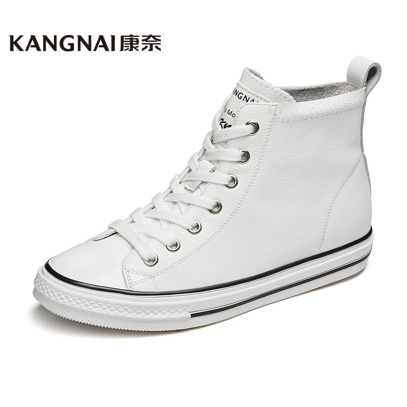 Sapatos de Alta Kangnai Mulher Superior Tênis Couro Genuíno Clássico Skateboarding Vulcanize Sapatos Lona Casuais Apartamentos