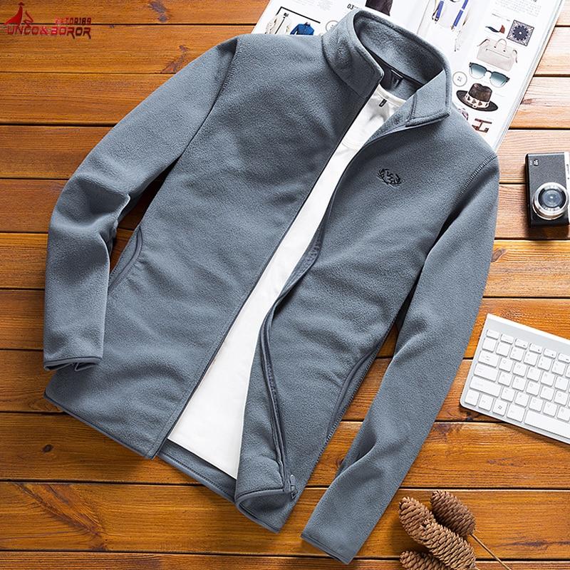 Spring Autumn Man Casual Fleece Coat Tactical Soft Shell  Jacket Outdoor Warm Sweatshirt Male Zipper Standing Collar Windbreaker