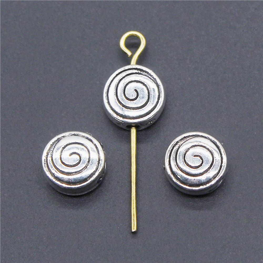 20 pçs charme espaçadores redemoinho contas se encaixa diy artesanal charme pulseiras acessórios antigo pequeno buraco espaçadores contas 8x8x4mm