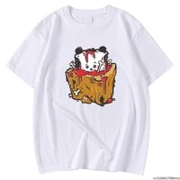 casual breathable man tees shirts summer tee shirts zombies dog cake streetwear printing top oversized