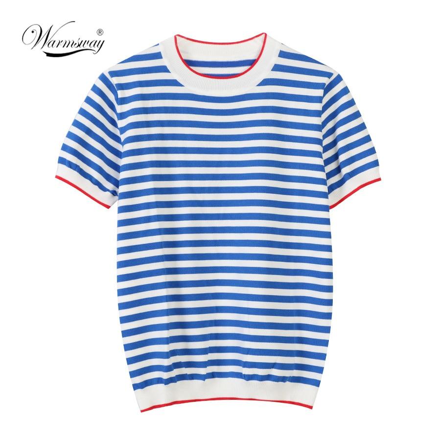 Warmsway fino de malha t camisa roupas femininas 2020 verão mulher manga curta camisetas topos listrado casual camiseta feminina tshirt B-019