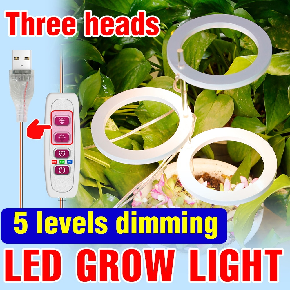 new 2 heads led grow light dual head 18w plant grow lamp led fitolampy with double on off switch for hydroponics grow system LED Fitolampy Full Spectrum Plant Light Bulb USB LED Hydroponics Grow Lamp 5V Phyto Light Dimmable LED Lamp For Plants Grow Box