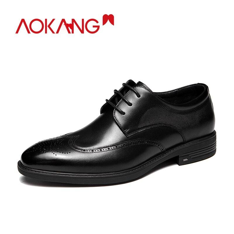AOKANG-أحذية جلدية أصلية للرجال ، أحذية زفاف عالية الجودة ، أحذية أكسفورد الصيفية