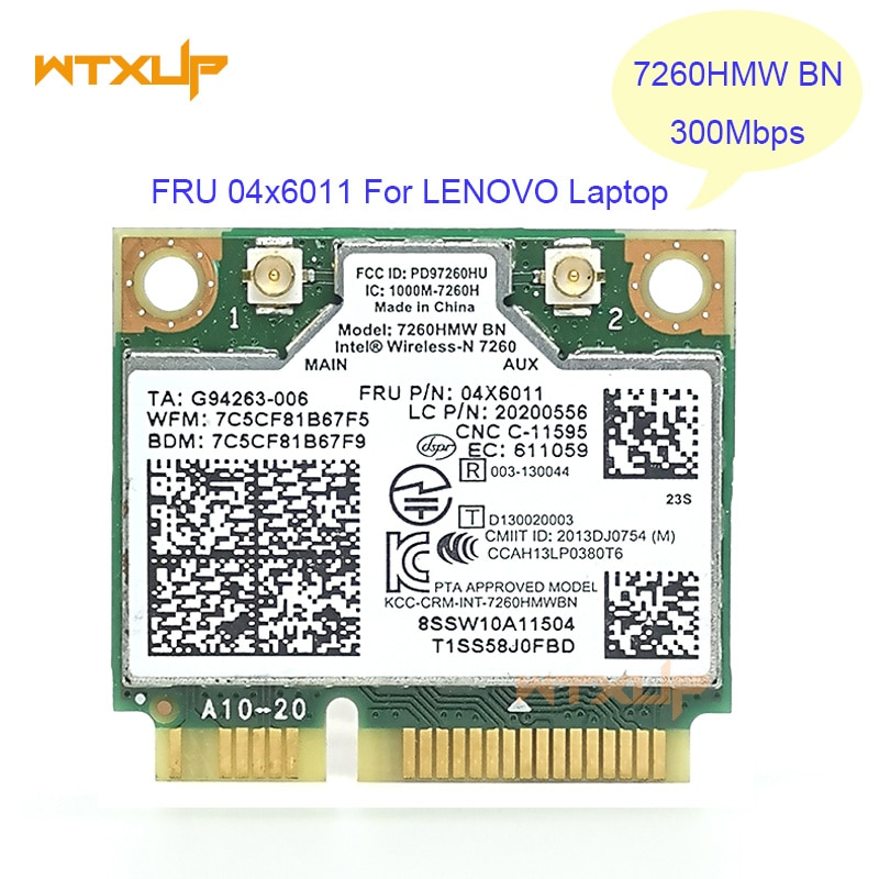 7260HMW + BT 4,0 MINI PCIE WLAN карта INTEL 7260BN WIRELESS-N 04X6011 для Lenovo K4350 K4250 B5400 M5400 M4400S S410 S310 S540