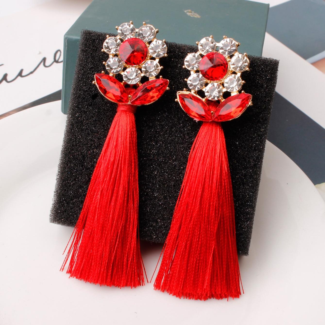 Pendientes de borla de calidad superior para mujer, pendientes de cristal llamativos, regalo de cristal para esposa, fiesta de Navidad, cumpleaños, boucle d'oreille