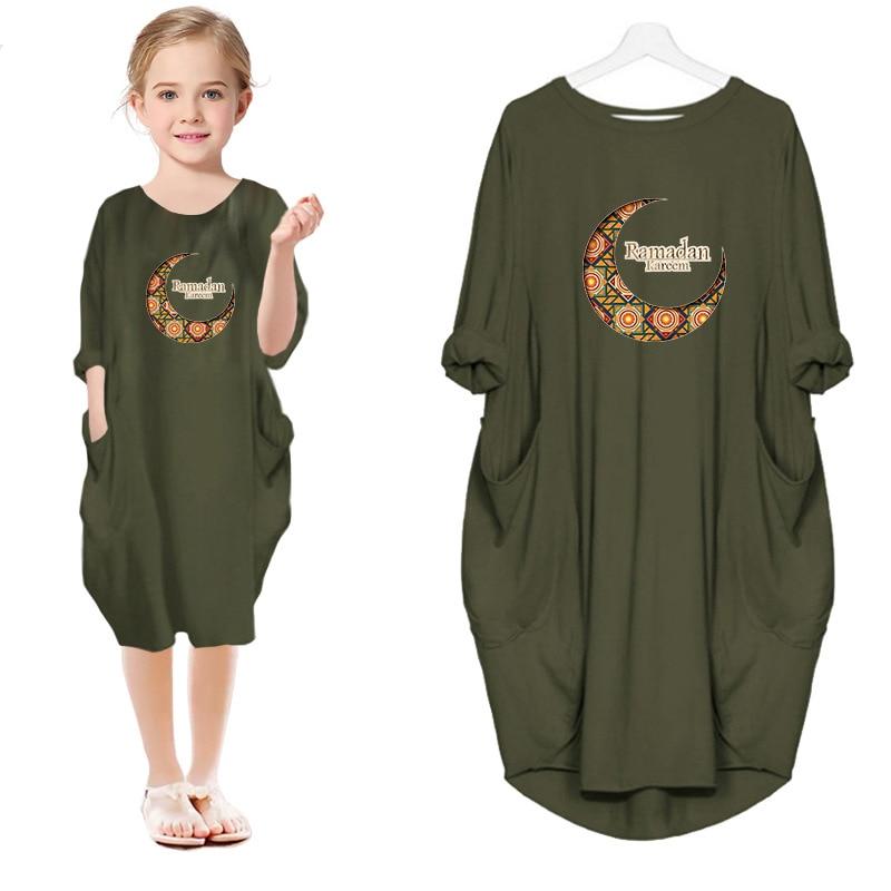 dresses mayoral 10686388 casual dress with short sleeves for girls Girls Dress Cartoon Little Girls Ramadan Cute Princess Dresses Summer Cartoon Short Sleeves Baby Girls Clothes for Beachwear