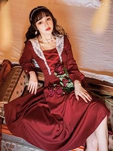 Summer New Women's Retro Palace Style Strap Red Long Dress Japanese Girl Temperament Was Thin Literary Slim Thin Dress