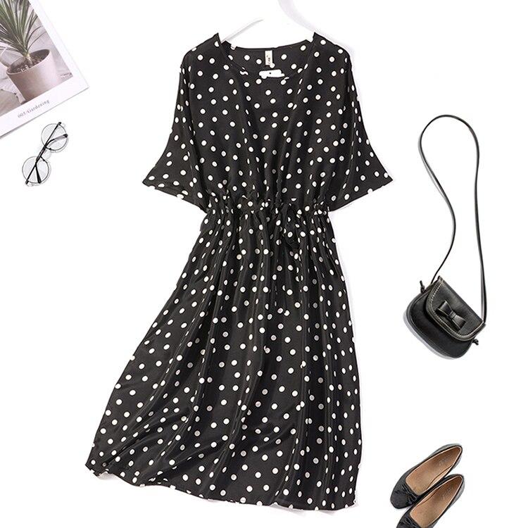 Women's 100% Pure Silk Long Dress Crew neck black Dots short sleeve belted Wide bottom one size  JN356