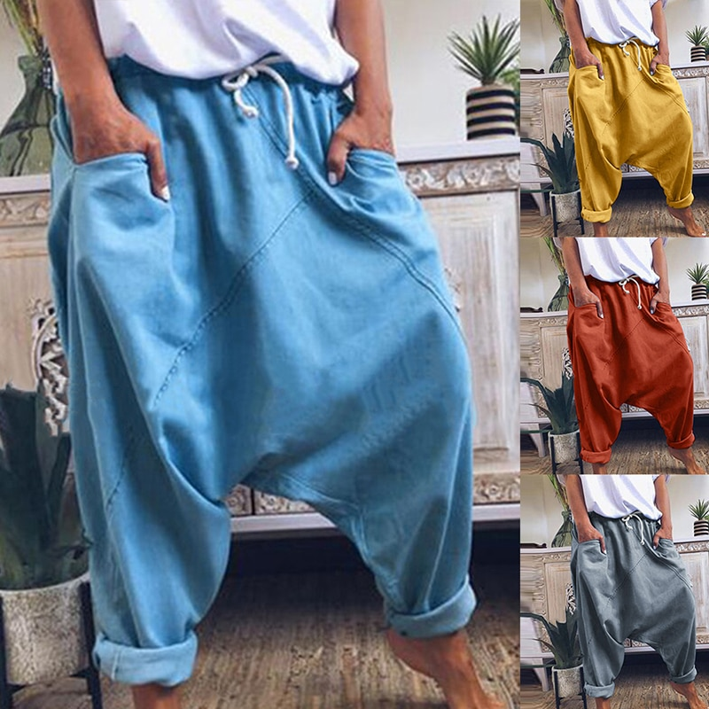 Pantalones harén para mujer, pantalones bohemios, pantalones de talle medio para mujer, pantalones a cuadros sólidos, pantalones holgados de pierna ancha informales, pantalones capri 2020