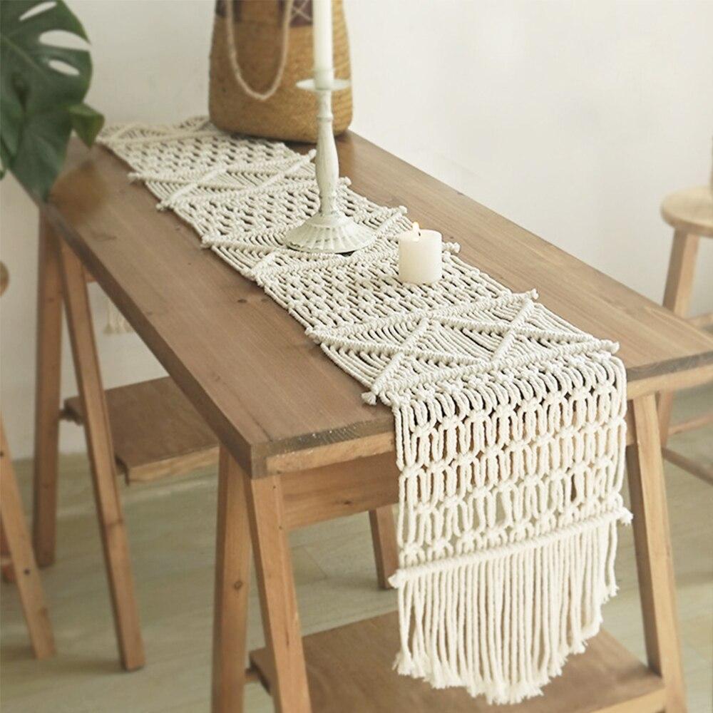 مفرش طاولة بوهيمي مع شرابات ، مفرش سرير منسوج يدويًا ، مكرميه ، ديكور منزلي لحفلات الزفاف