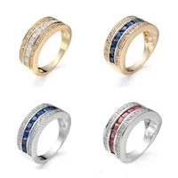 trendy gold silver color ring red blue pink white zircon crystal ring for womenmen wedding birthday partyband elegant jewelry