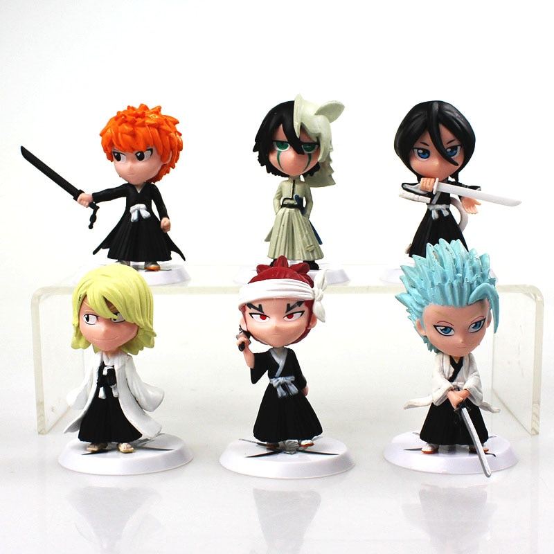 6 unids/lote 7cm Anime figura Bleach Ichigo Kurosaki Orihime Inoue de acción de PVC figuras en miniatura de juguete