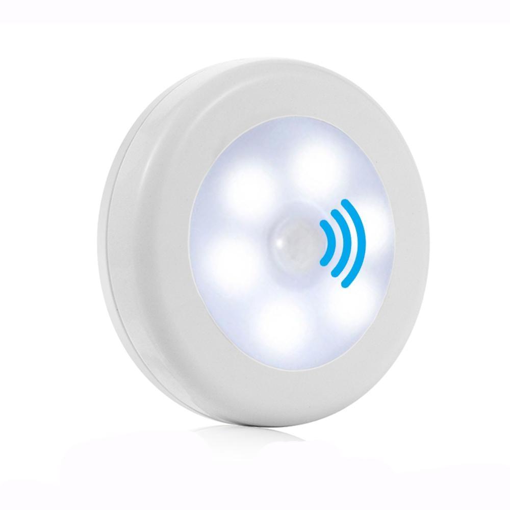 Sensor de movimiento de pared Led luz nocturna Detector de emergencia batería magnética armario escaleras mini lámpara Luz de hogar