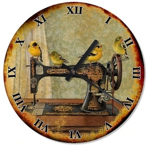 Old Sewing Machine And Birds Design Wall Clock