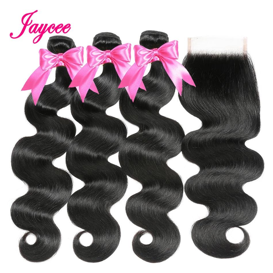 Cuerpo brasileño ondulado 3 mechones con cierre extensiones de cabello humano con cierre de encaje 4 mechones/lote Remy extensiones de cabello brasileño