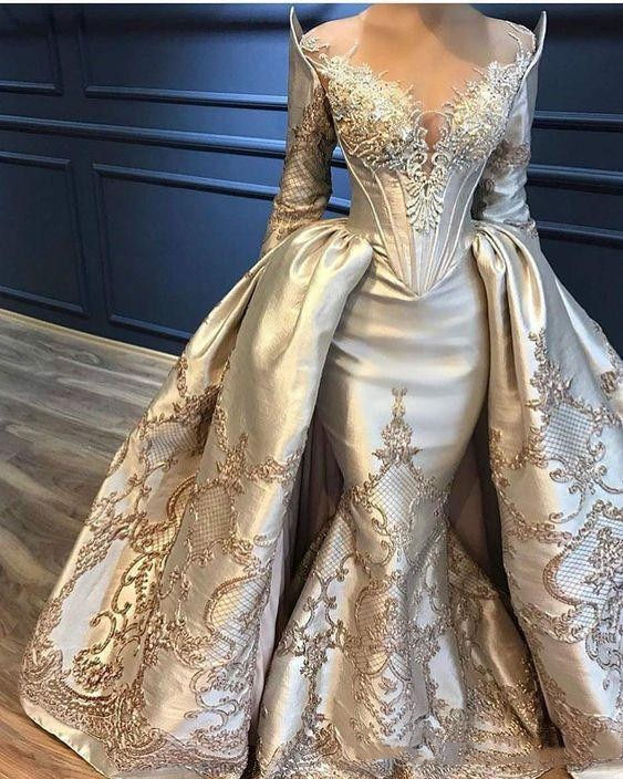 Mermaid Overskirts Prom Dresses Long Sleeve Lace Appliqued Beads Evening Dresses With Detachable Tra