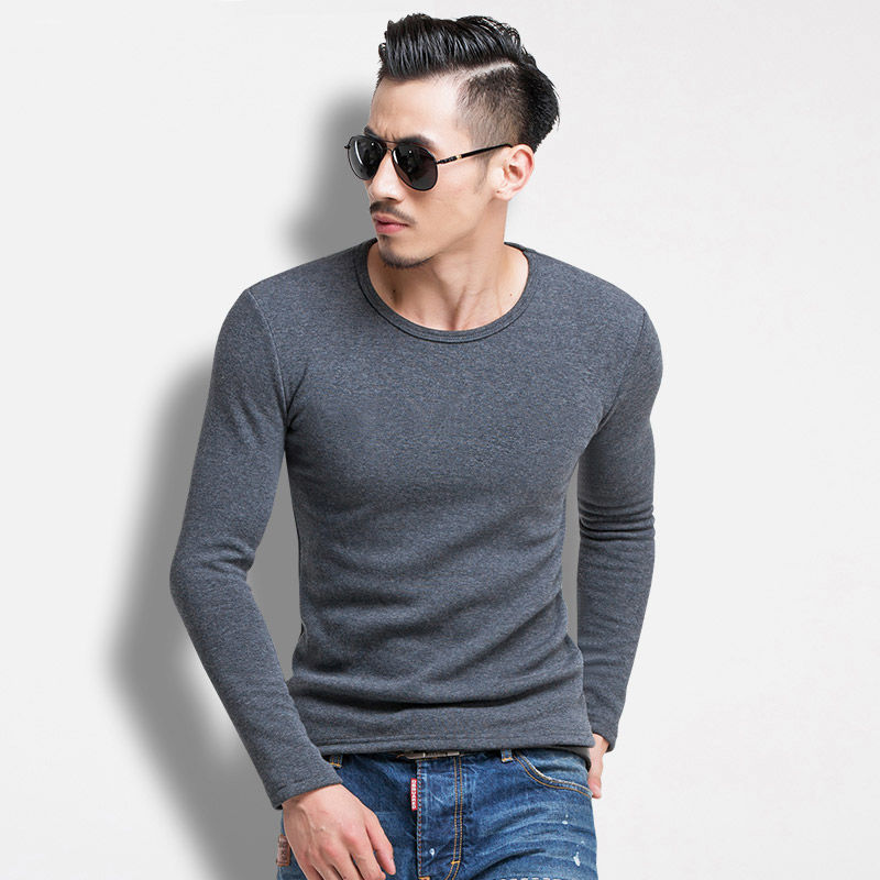 Camiseta de hombre con terciopelo y mangas gruesas, Camiseta con cuello redondo y camiseta en invierno, color puro, ropa cálida y ajustada