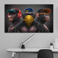 Картины с тремя обезьянами в разных стилях, подойдут для декора помещения