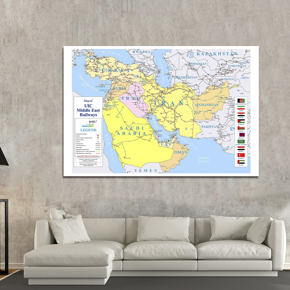225*150 cm Map of the Middle East Railways Non-woven Canvas Painting Large Wall Poster Home Decoration School Supplies