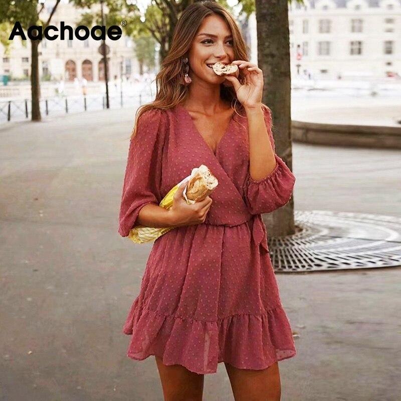 Aachoae 2020 летнее женское кружевное шифоновое платье с оборками Boho мини пляжное платье с рукавом три четверти женские вечерние платья Vestido