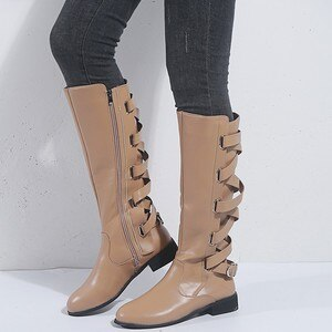 2020 New Winter Boots Women Knee High Long Boots Leather Fashion Lace-Up Snow Boots Non-Slip Black Boots Shoes Woman