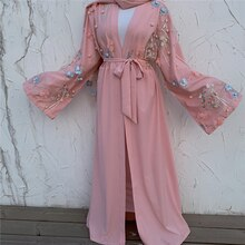 Ramadan Eid Mubarak Floral Pink Abaya Turkey Kimono Cardigan Robe Hijab Muslim Dress Women Caftan Dubai Kaftan Islamic Clothing