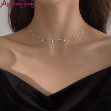 Aide Delicate Jewelry Round Bead Discs Choker Necklace for Women Clavicle Chain Necklace Gifts 925 S