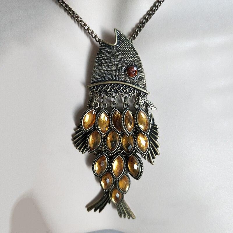 2019 nuevo bronce amarillo cristal escalado pez para mujer colgante regalo étnico bohemio gargantilla largo collar Envío Directo