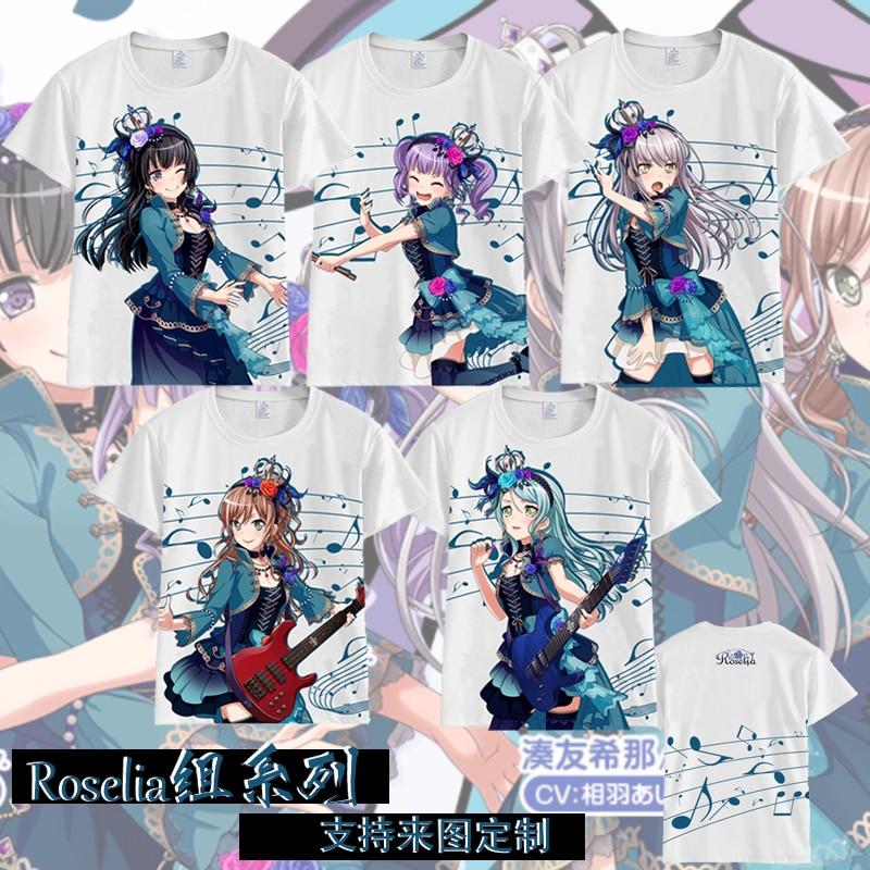 Аниме Bang Dream! Hikawa Sayo Minato Yukina Imai Lisa Udagawa Ako cosplay футболка Летняя Повседневная футболка унисекс футболка с короткими рукавами