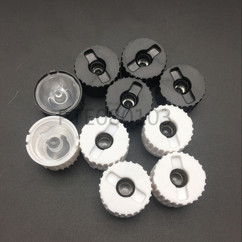 10 Uds. 5/8/15/25/30/45/60/90/120 grados lente LED con soporte negro para 1W 3W 5W lámpara LED de alta potencia