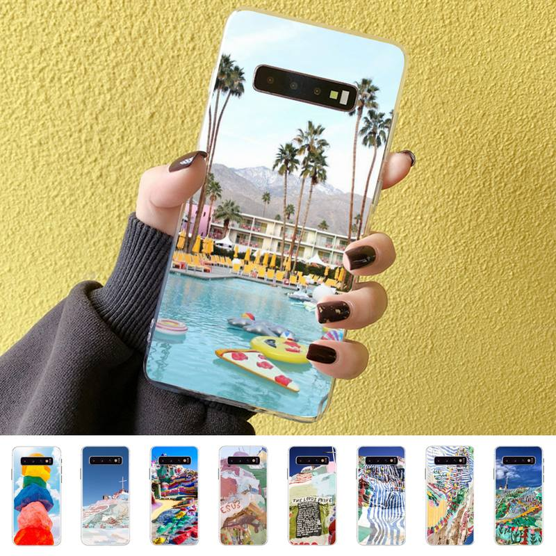 Capa de telefone samsung s10 s10lite s9 s9plus s8 s7 s6 s6edge luxo molas de palma caso transparente