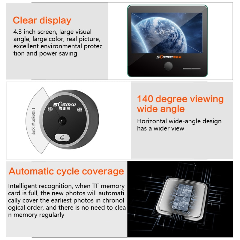 High Quality Home Security Digital Doorbell 4.3 inch Smart Doorbell Peephole HD Camera Electronic Cat Eye with Night Vision enlarge
