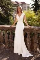 elegant beach wedding dress 2021 sexy v neck sleeveless train bridal gowns with