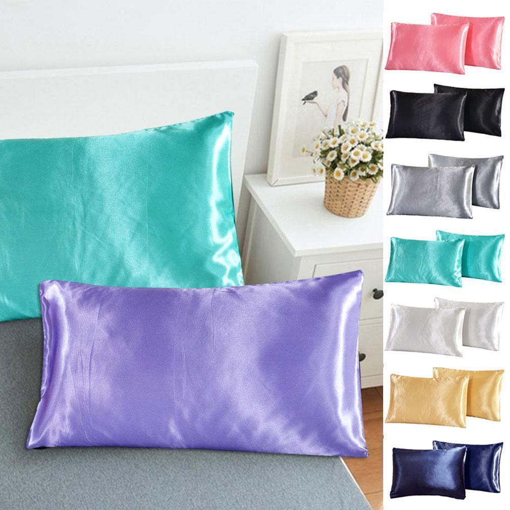 Пара шелковых планшетов, домашнее постельное белье, Прямоугольная подушка, удобное постельное белье, однотонная подушка