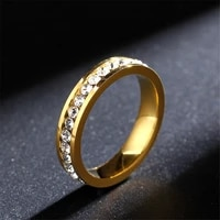hip hop full rhinestone bling ice out womens ring gold color titanium stainless steel rings for men women fashion jewelry