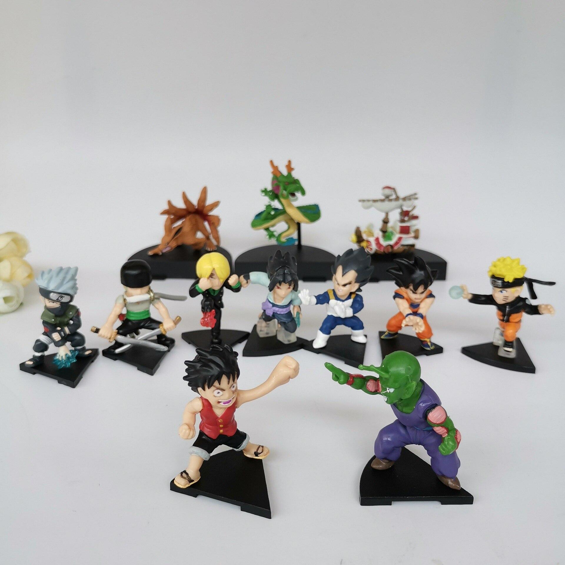 12 unids/lote Bola de Dragón Z NARUTO una pieza Super Saiyan Dios figura de acción Son juguetes modelo