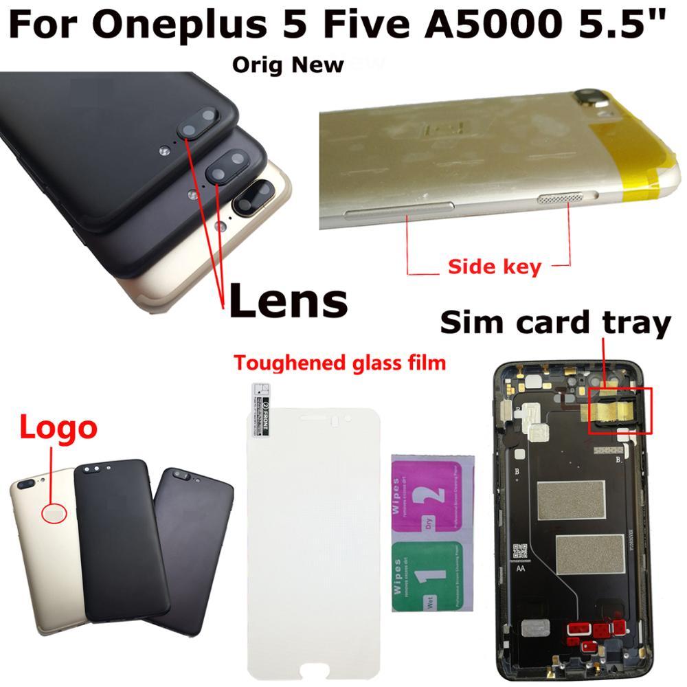 """100% Orig nuevo 5,5 """"para Oneplus 5 Five 1 + 5 A5000 para maletero cubierta de la tapa de la batería con bandeja de tarjeta SIM de lente de tecla lateral"""