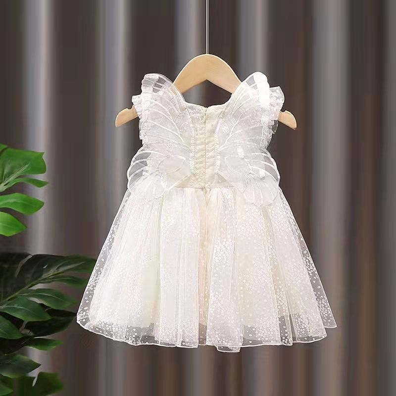 Butterfly Wing Lace Girls Dresses 2021 Summer New Design Solid A-Line Cute Baby Children Clothes