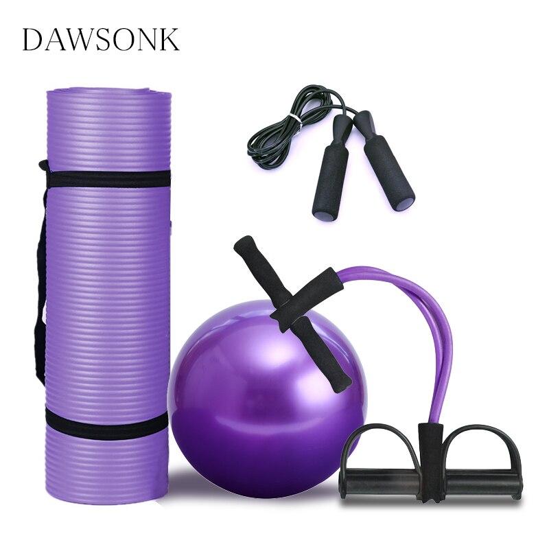 Yoga Matte Vier-stück Anfänger Anti-skid Pilates Ball (25cm) kordelzug Jump Seil Set Fitness Dance Hause 183*61*0,1 cm Übung