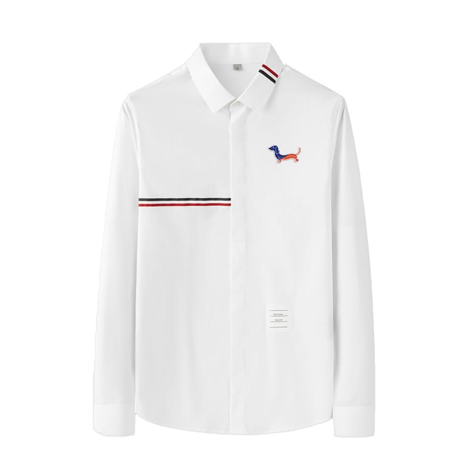Мужские рубашки с вышивкой Thom TB Dog, дизайнерские рубашки из ткани Оксфорд высокого качества с длинными рукавами