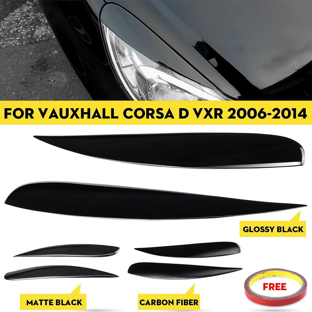 2 шт., автомобильные фары, веки, брови, наклейка, защита для фар, брови, автомобильный Стайлинг для Vauxhall Corsa D VXR 2006-2014