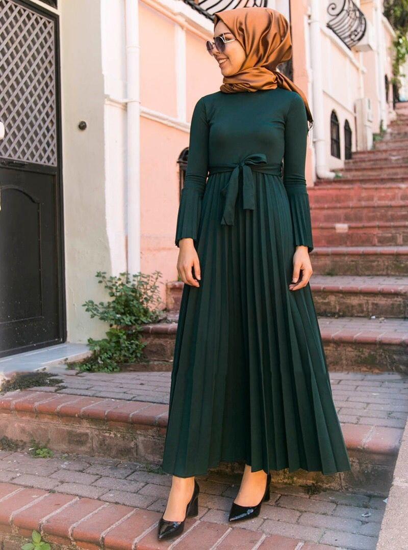 Eid Mubarak Pleated Abaya Hijab Muslim Dress Caftan Dubai Kaftan African Dresses Islamic Clothing Abayas for Women Vestidos Oman