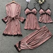 2020 Winter Home 4Pcs Pajamas Set Women Velvet Long Sleeve Warm Nightwear Robe Nightdress Clothing Lingerie with Chest Pads